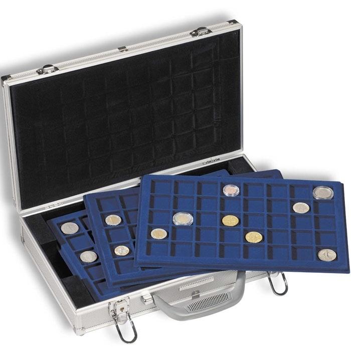 Алюминиевый нумизматический кейс для 6 планшетов. Закрывается на